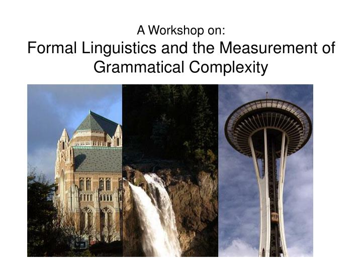 A workshop on formal linguistics and the measurement of grammatical complexity