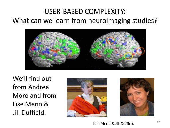 USER-BASED COMPLEXITY: