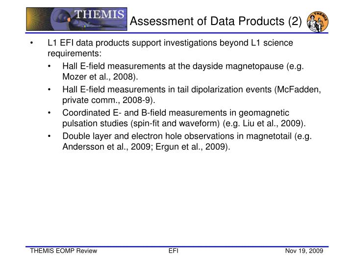 Assessment of Data Products (2)
