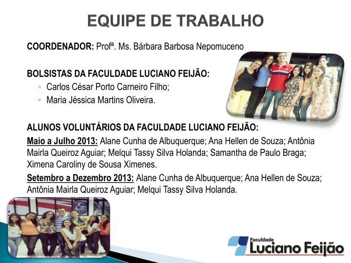 EQUIPE DE TRABALHO