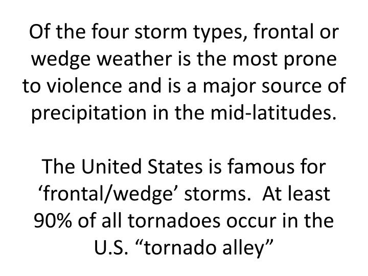 Of the four storm types, frontal or wedge weather is the most prone to violence and is a major source of precipitation in the mid-latitudes.