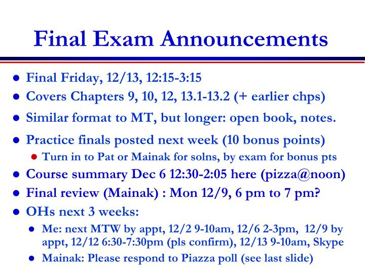 Final Exam Announcements