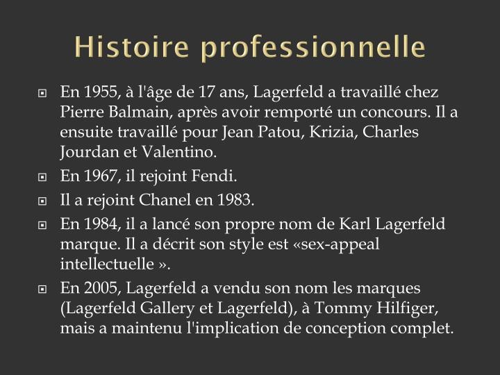 Histoire professionnelle