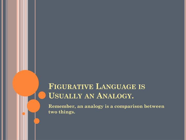 Figurative Language is Usually an Analogy.