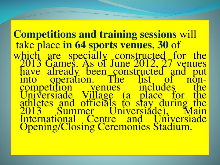 Competitions and training sessions