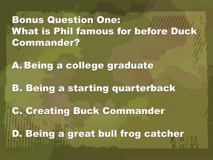 Bonus Question One: