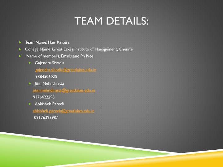 Team Details: