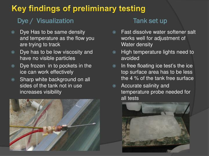 Key findings of preliminary testing