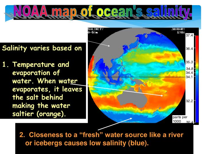 NOAA map of ocean's salinity.