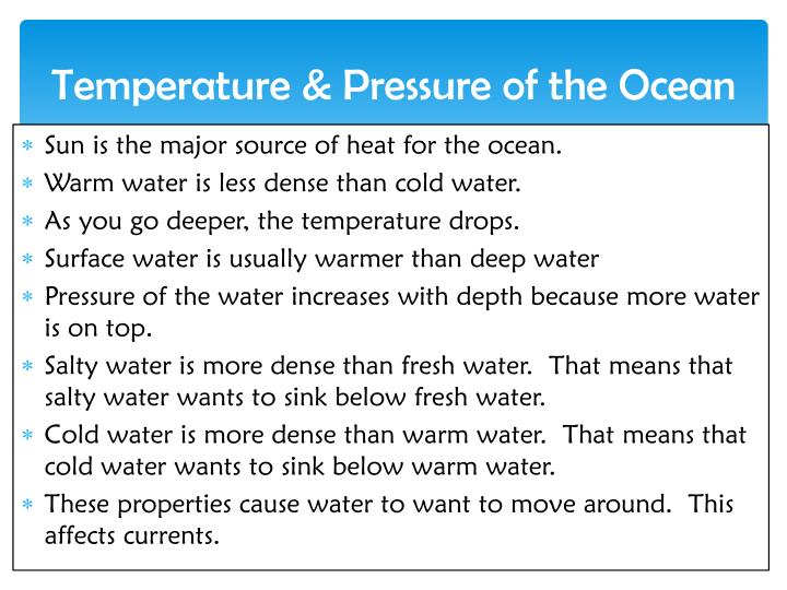 Temperature & Pressure of the Ocean