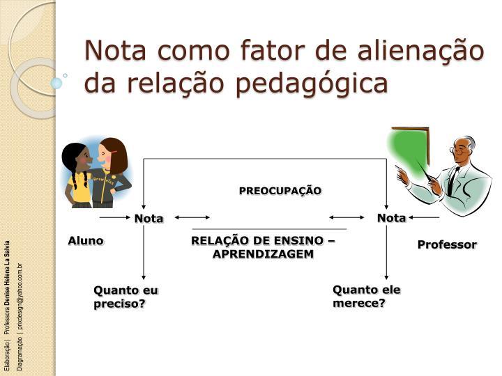 Nota como fator de alienação da relação pedagógica