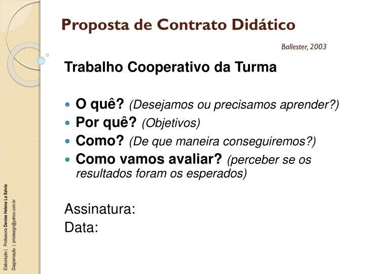 Proposta de Contrato Didático