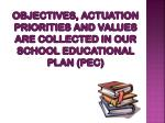 objectives actuation priorities and values are collected in our school educational plan pec