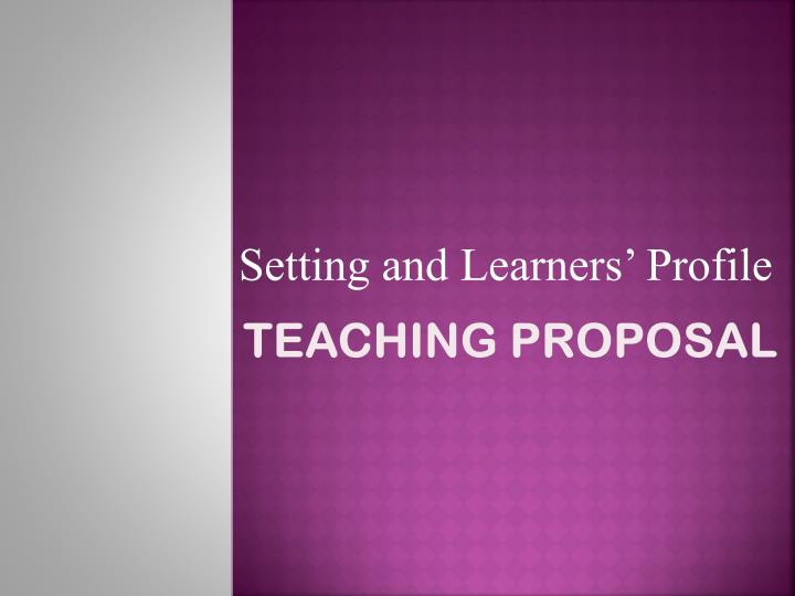 Teaching proposal