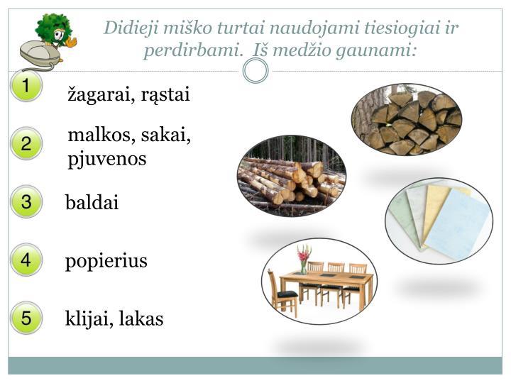 Didieji miško turtai naudojami tiesiogiai ir perdirbami.  Iš medžio gaunami: