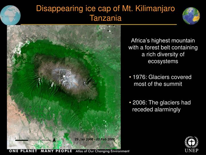 Disappearing ice cap of Mt. Kilimanjaro