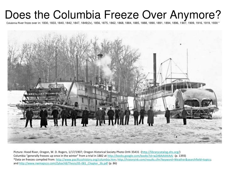 Does the Columbia Freeze Over Anymore?
