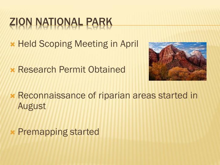 Held Scoping Meeting in April