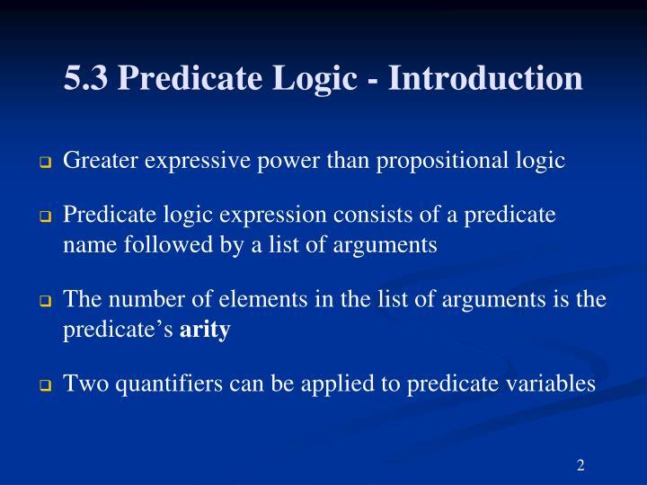5.3 Predicate Logic - Introduction