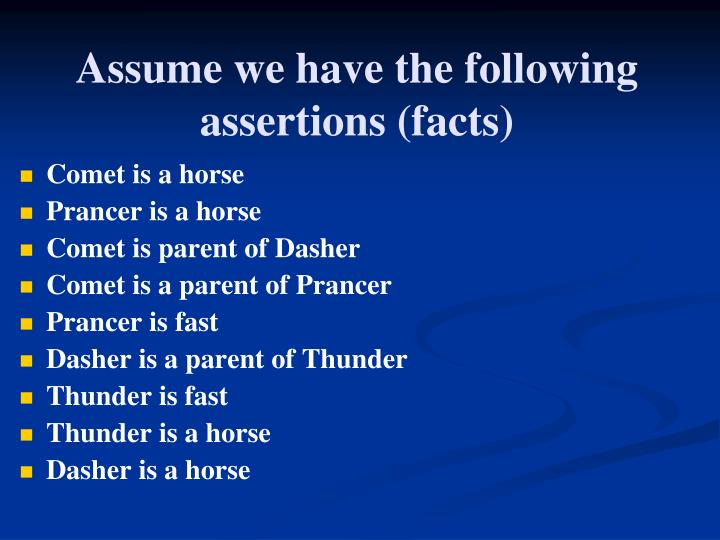 Assume we have the following
