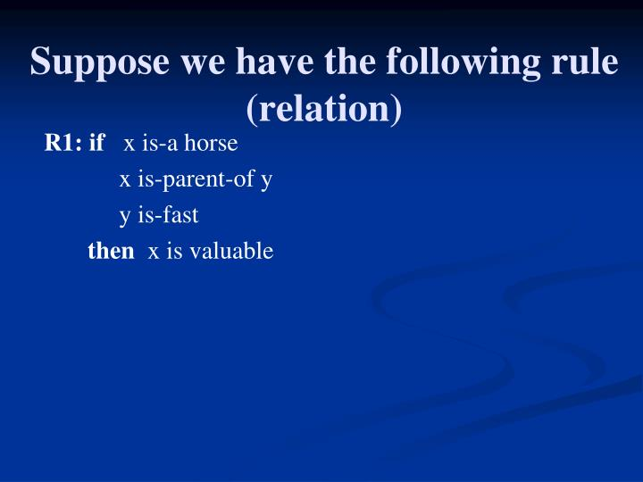 Suppose we have the following rule (relation)