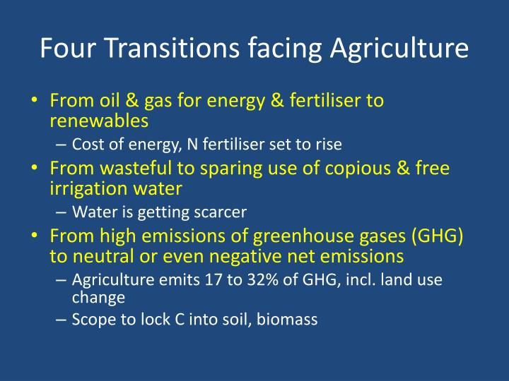 Four Transitions facing Agriculture