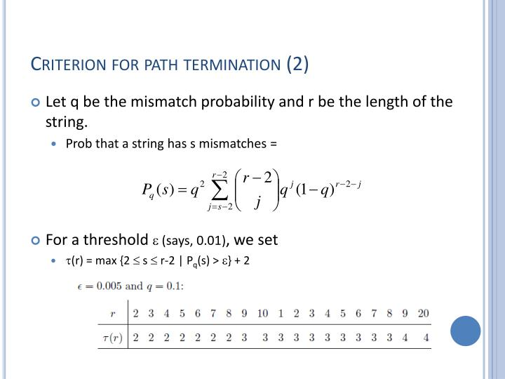 Criterion for path termination (2)