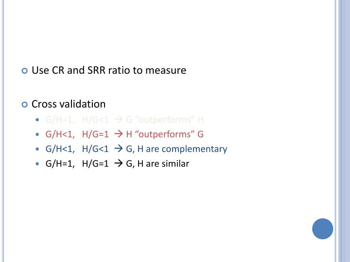 Use CR and SRR ratio to measure