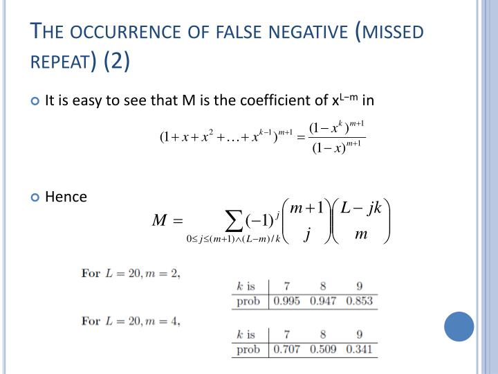 The occurrence of false negative (missed repeat) (2)