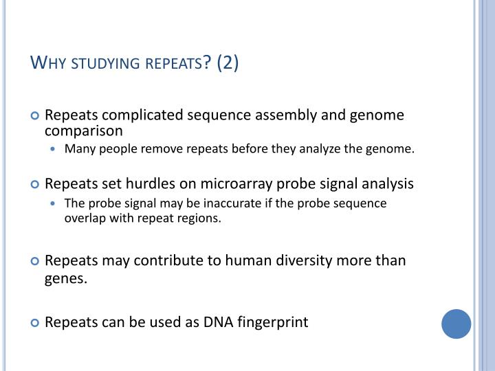 Why studying repeats? (2)