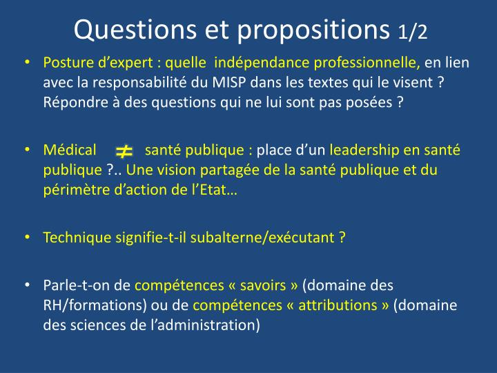 Questions et propositions