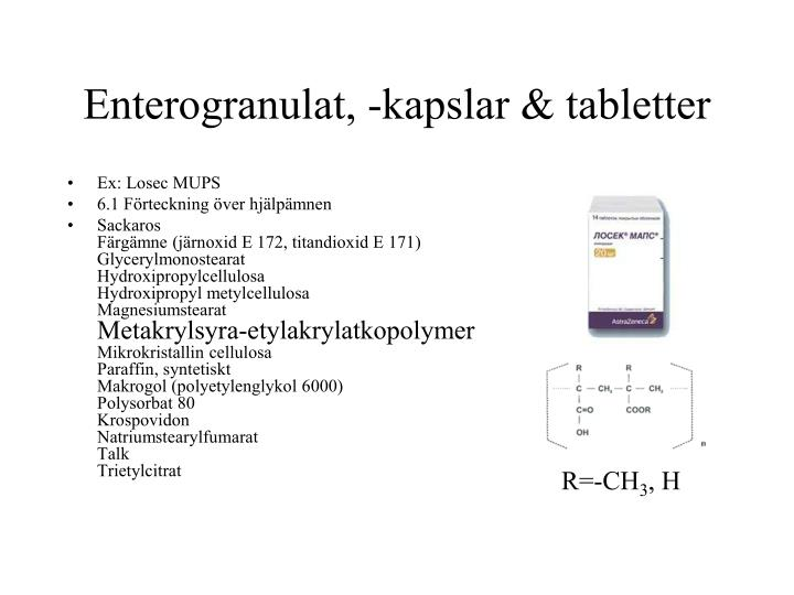 Enterogranulat, -kapslar & tabletter
