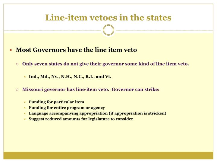 Line item vetoes in the states
