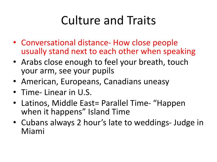 Culture and Traits