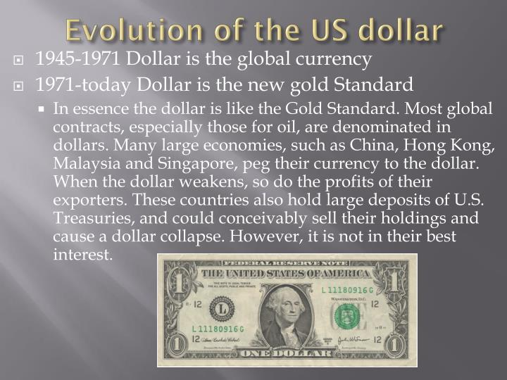 Evolution of the US dollar