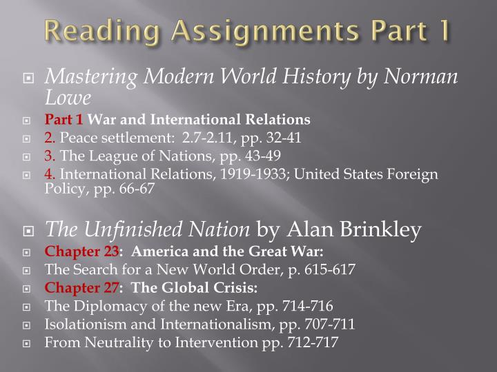 Reading Assignments Part 1