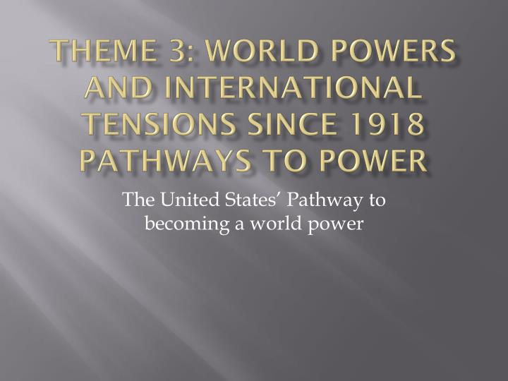 theme 3 world powers and international tensions since 1918 pathways to power