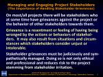managing and engaging project stakeholders the importance of handling stakeholder grievances