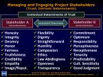 managing and engaging project stakeholders trust intrinsic determinants