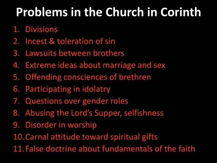Problems in the Church in Corinth