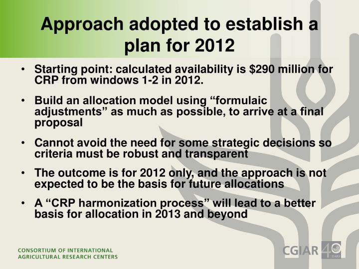 Approach adopted to establish a plan for 2012