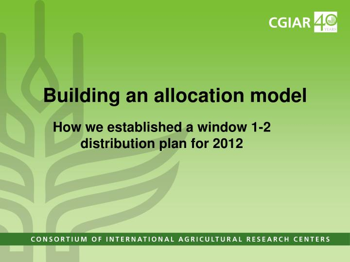 Building an allocation model