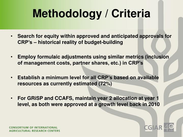 Methodology / Criteria