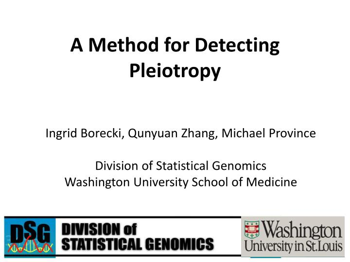A method for detecting pleiotropy