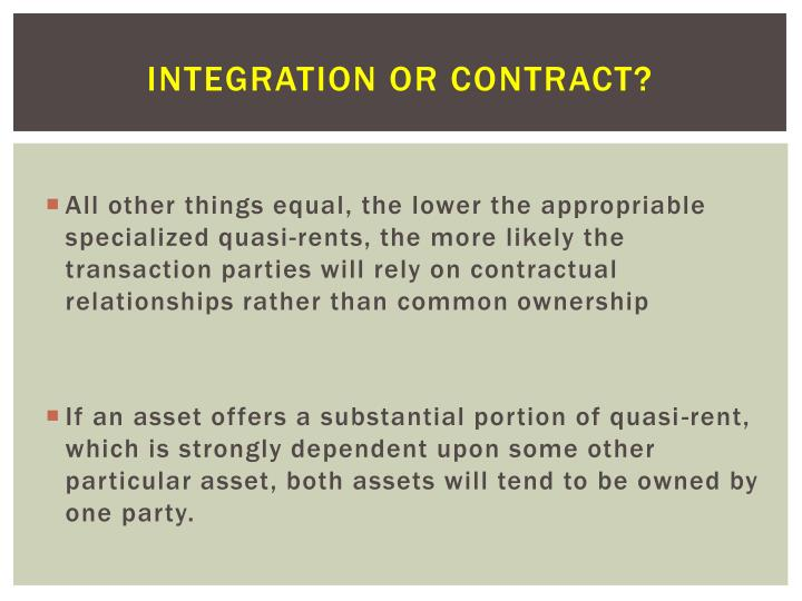 Integration or Contract?