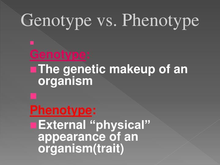 Genotype vs. Phenotype