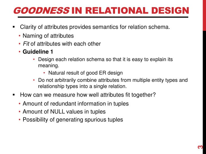 Goodness in relational design
