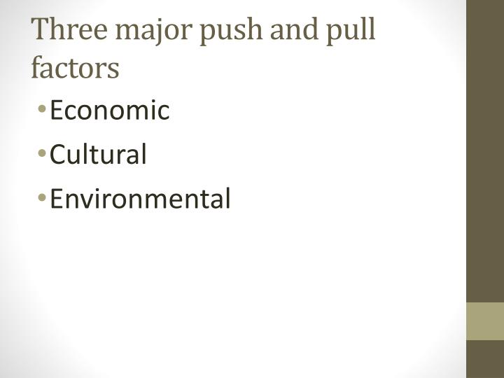 Three major push and pull factors