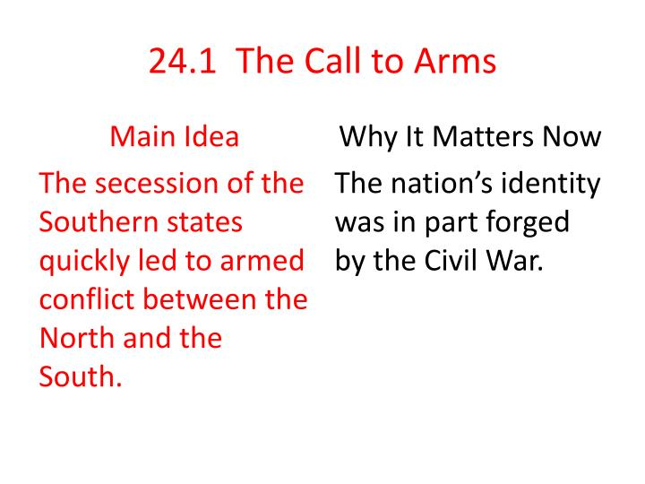 24.1  The Call to Arms