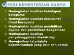 misi kementerian agama